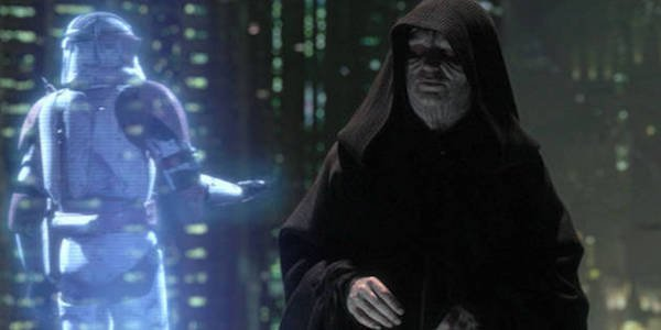 Palpatine initiating Order 66 in Star Wars: Revenge of the Sith
