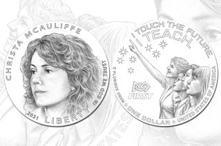 The preferred obverse (at top) and reverse designs for the 2021 Christa McAuliffe Silver Dollar Commemorative Coin, as identified by the Commission of Fine Arts and Citizens Coinage Advisory Committee (CACC), as well as the McAuliffe family.