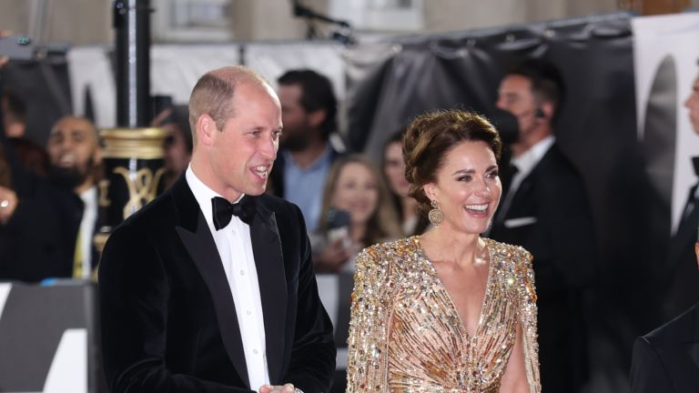 """Kate Middleton. Catherine, Duchess of Cambridge and Prince William, Duke of Cambridge attend the """"No Time To Die"""" World Premiere at Royal Albert Hall on September 28, 2021 in London, England."""