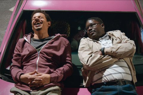 Eric Andre and Lil Rel Howery star as Chris and Bud in 'Bad Trip,' a hidden-camera comedy about two friends on a road trip to New York so one of them can reunite with his high school crush.