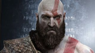 A photo illustration showing Kratos in front of a runic message.
