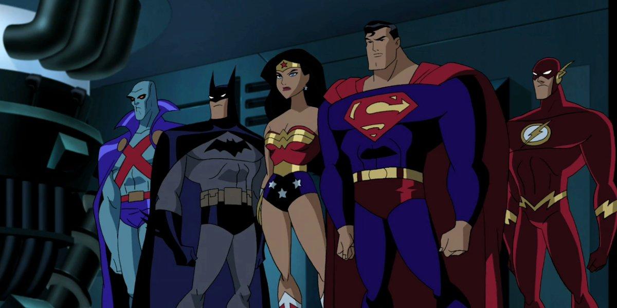 Martian Manhunter, Batman, Wonder Woman, Superman, and The Flash in Justice League
