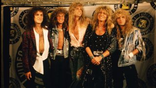 The rock group, 'Whitesnake,' poses on the red carpet at the 1987 Universal City, California, MTV Music Awards