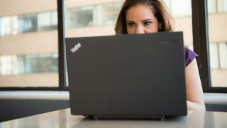 Woman using ThinkPad