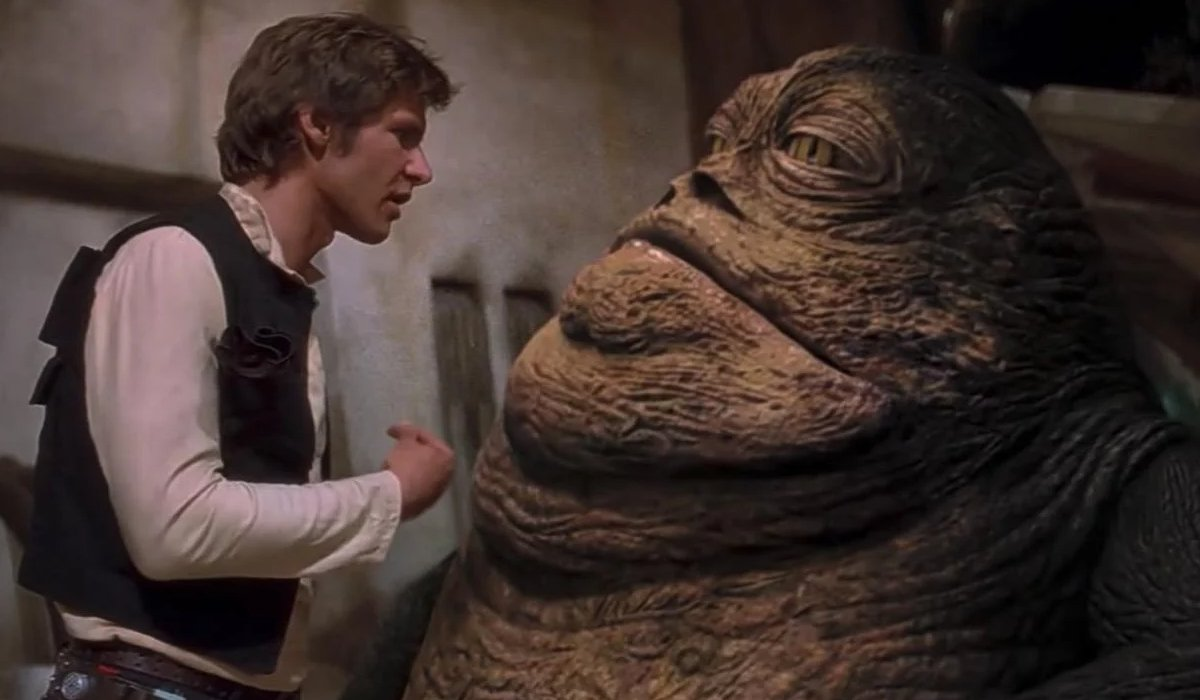 Han Solo talks with Jabba the Hut in Star Wars: A New Hope - Special Edition