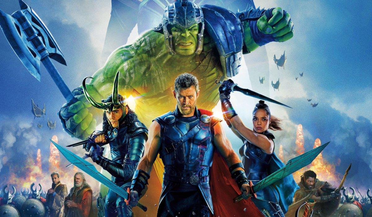Thor: Ragnarok heroes battling towards the camera