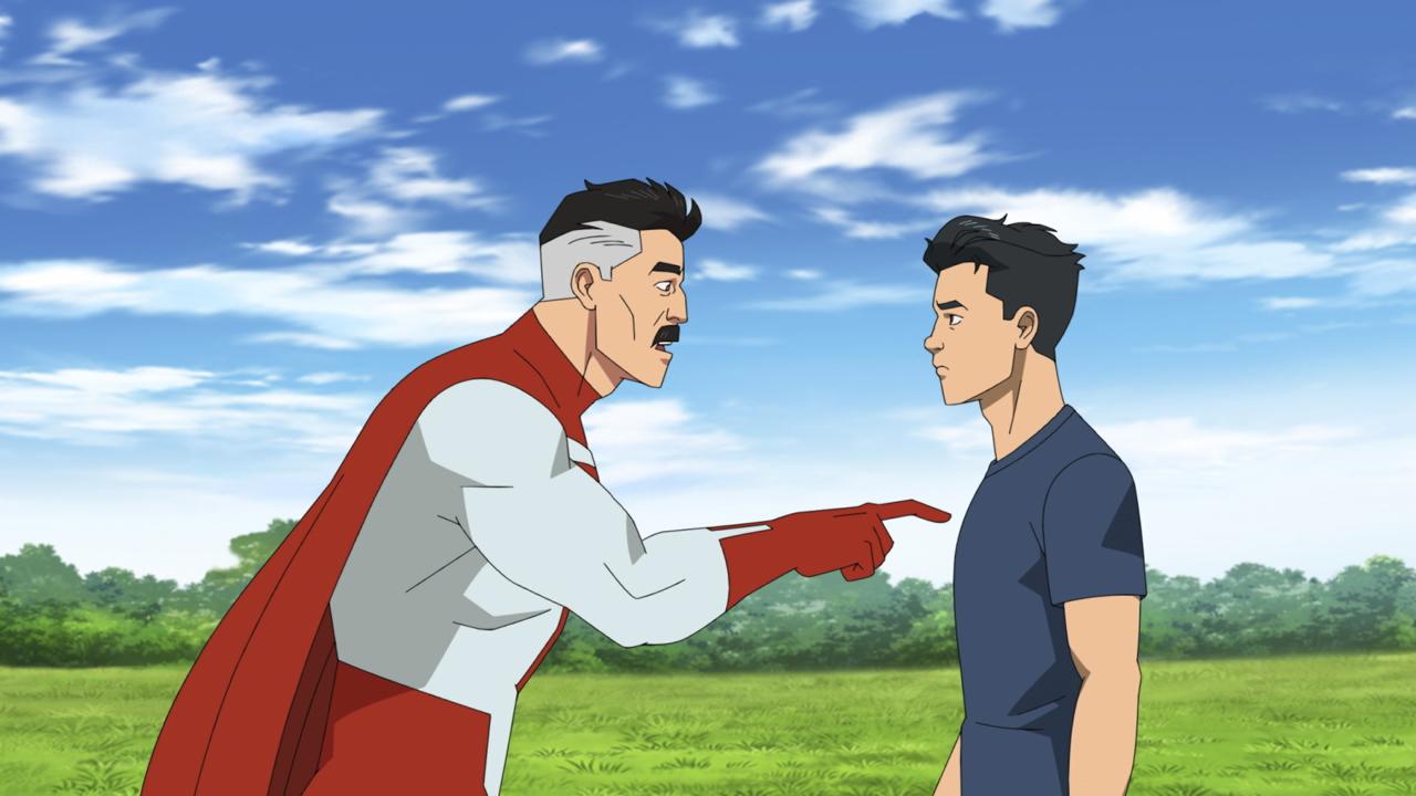 Omni-Man gives Mark Grayson some hard hitting advice in Invincible season 1