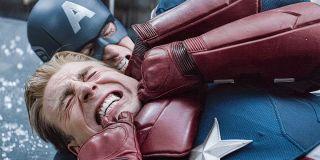Chris Evans as Captain America choking himself in Avengers: Endgame