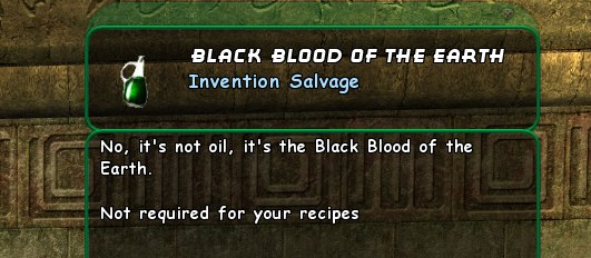 Black Blood of the Earth, an item found in City of Heroes that is definitely not oil