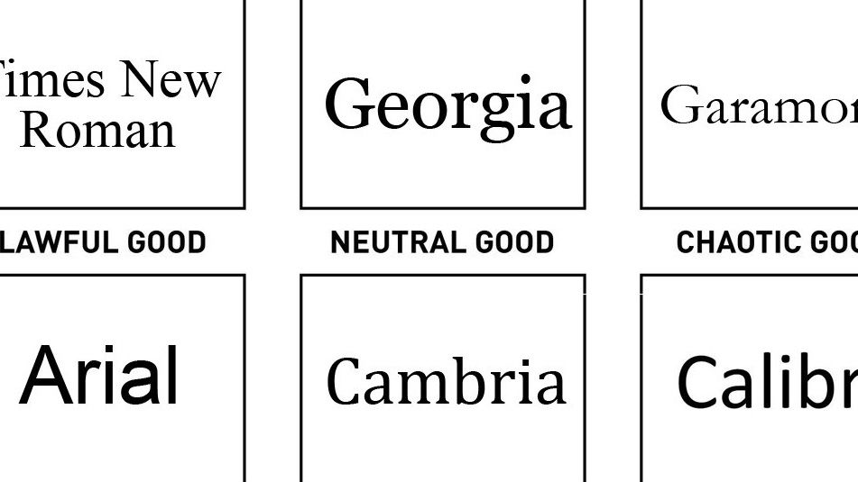 Funny font chart separates the good from the evil