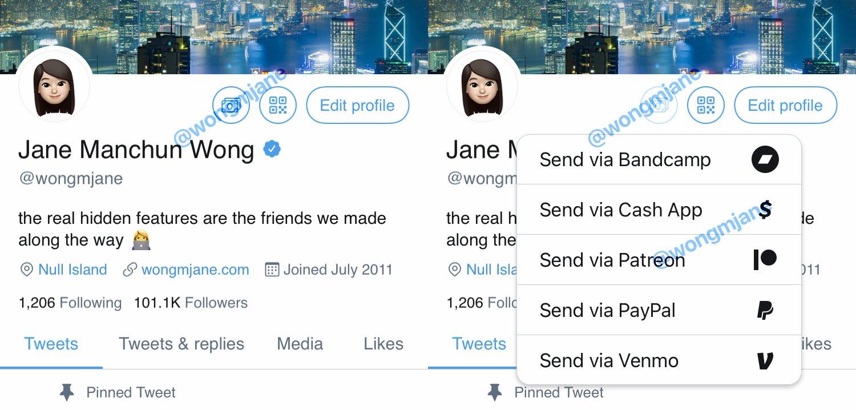 Screenshot of Twitter Tip Jar as scooped by Jane Manchun Wong