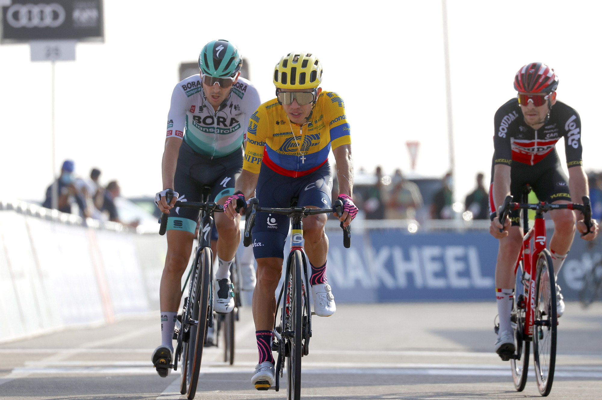 The chase group finishes stage 3 at the UAE Tour