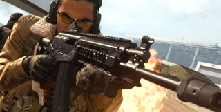 A Call of Duty character using the AMAX assault rifle.