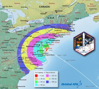 This map shows the regions of visibility for Orbital ATK's Antares rocket nighttime launch scheduled for 8:51 p.m. EDT on Friday, Oct. 14, 2016 from Wallops Island, Virginia.