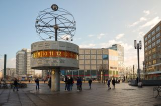 The World Clock in Berlin displays the time in 148 cities around the world, all of which are synchronized with UTC.