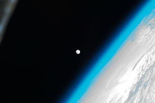 This photo of the full moon on Jan. 8, 2012 shows the moon as it appeared to astronauts on the International Space Station. It is one in a series of full moon photos by the station crew.