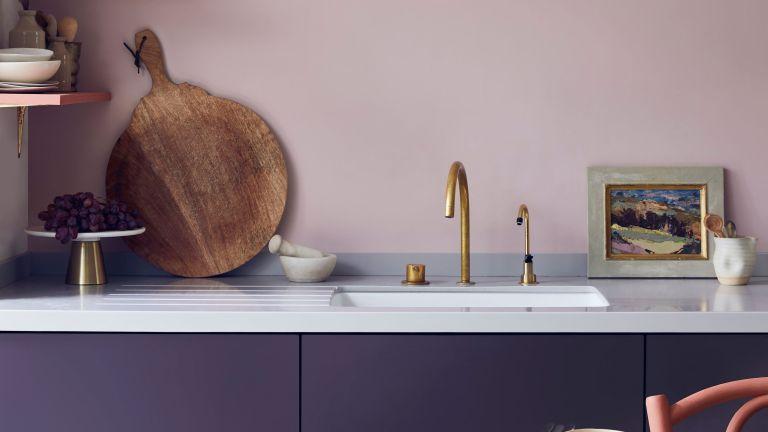 pink and purple Annie Sloan kitchen