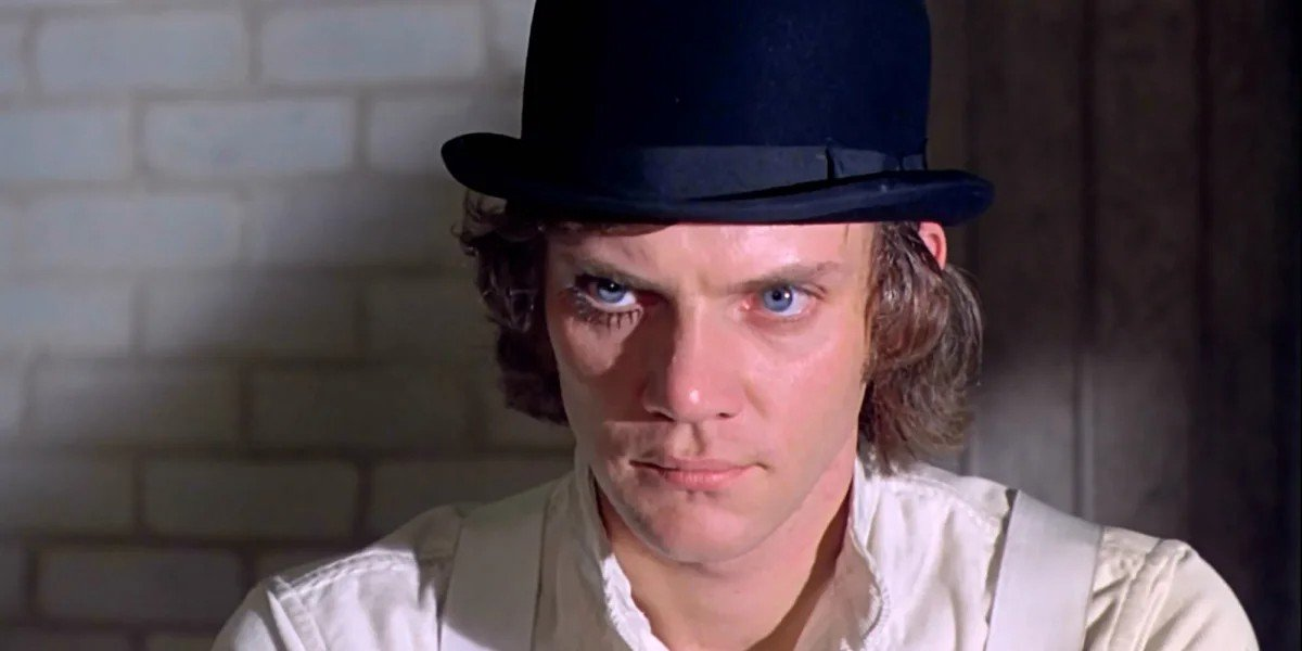 Malcolm McDowell with the stare