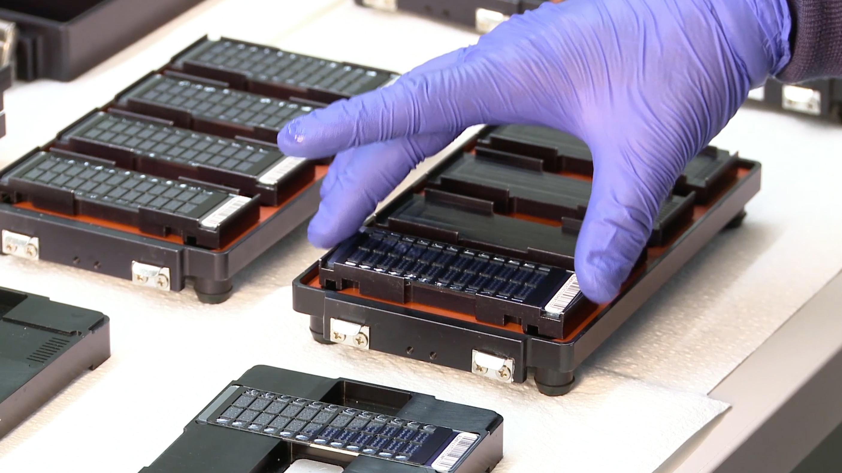 Technicians testing DNA at 23andMe