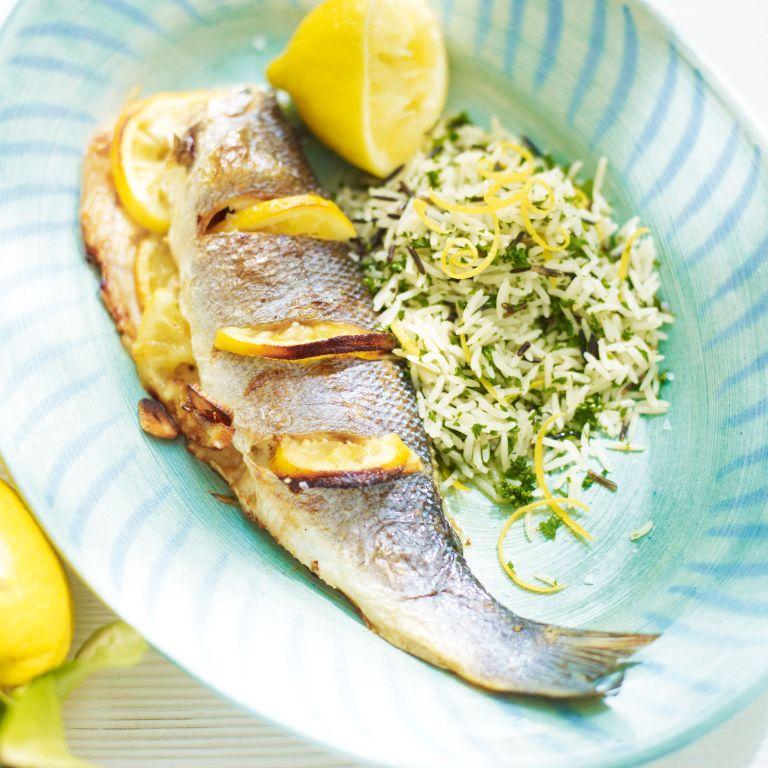 Roast Sea Bass with wild rice and lemon recipe-fish recipes-recipe ideas-new recipes-woman and home