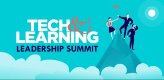 Tech&Learning Leadership summit with illustration of three people planting flag on mountaintop