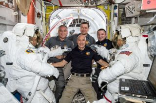The six astronauts of Expedition 60 on the International Space Station celebrated 2020 earlier than you might think. Pictured here: (foreground from left) NASA astronauts Jessica Meir, ESA astronaut Luca Parmitano (center) and NASA astronaut Christina Koch (right). Background from left: Russian cosmonauts Alexander Skvortsov, Oleg Skripochka and NASA astronaut Andrew Morgan.