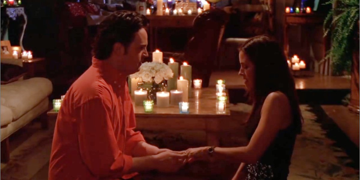 When Chandler and Monica proposed to each other on Friends.
