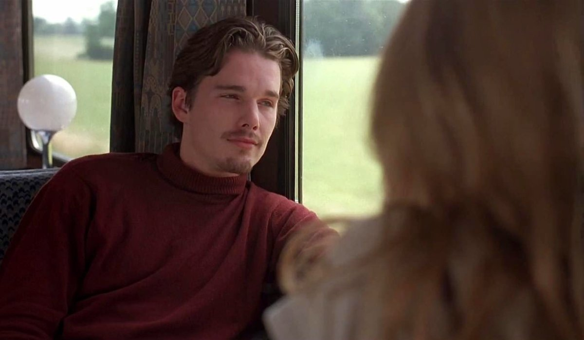 Before Sunrise Ethan Hawke looks out the train window