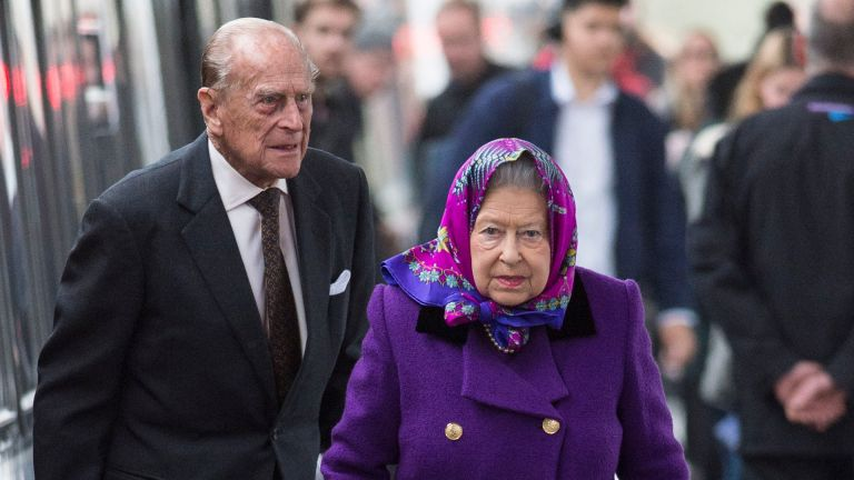 Queen Elizabeth and Prince Philip, Duke of Edinburgh arrive at King's Lynn Station on December 21, 2017 in King's Lynn, England ahead of their Christmas break