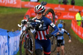 OVERIJSE BELGIUM JANUARY 24 Clara Honsinger of The United States during the 61st Druivencross World Cup 2021 Womens Elite UCICX CXWorldCup Ostend2021 on January 24 2021 in Overijse Belgium Photo by Luc ClaessenGetty Images