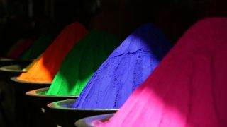 Heaps of brightly coloured powder