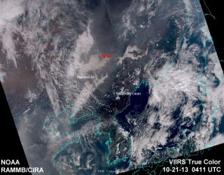 This image, captured by the Suomi NPP satellite, shows polluted air over northeastern China on Oct. 21, 2013.