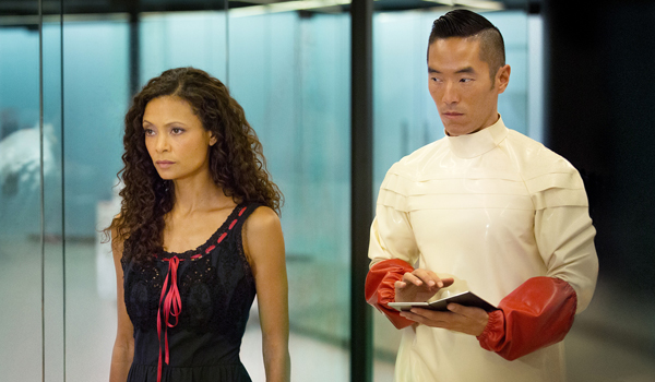 maeve and lutz in the lab westworld season 1