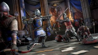 A knight in blue holding a maul and a knight in red with a sword are prepared to swing at one another at the center of a throne room while other red and blue teammates fight nearby.