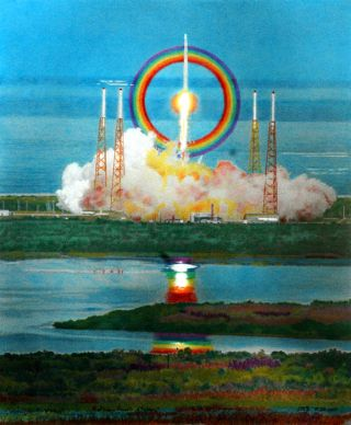 Falcon 9 rocket launch artwork