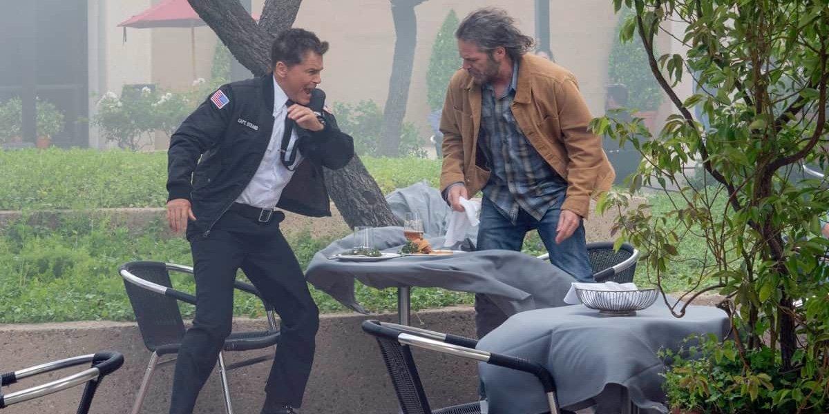 Rob Lowe as Owen Strand and Billy Burke as Billy Tyson in 9-1-1: Lone Star.