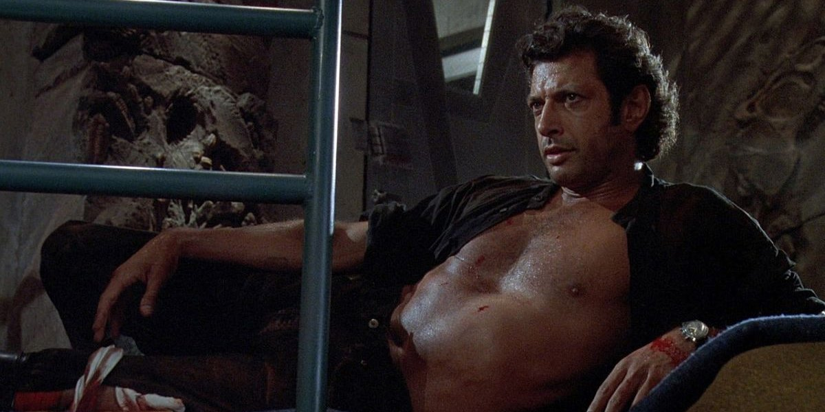 Ian Malcolm shirtless in Jurassic Park