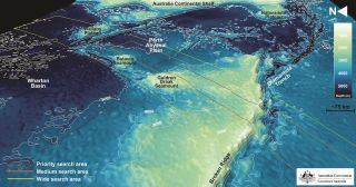 The topography of seafloor areas examined in the search for the missing flight MH370.