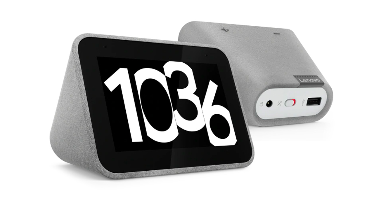 the lenovo smart clock showing the time