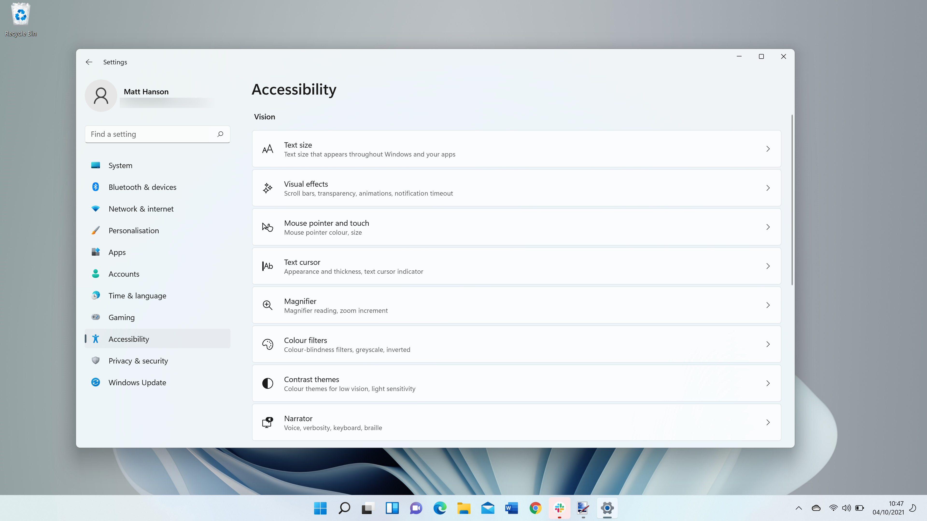 Windows 11 screenshot showing accessibility options