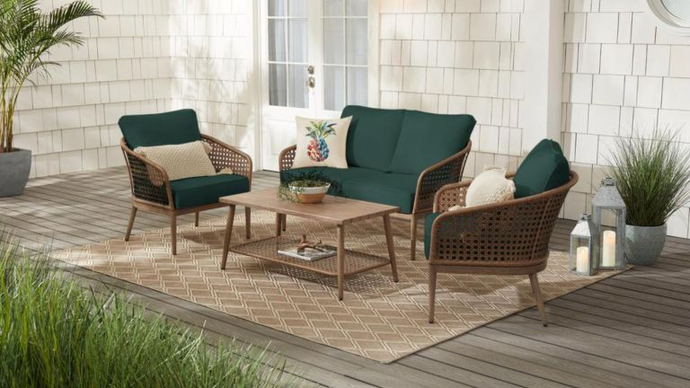 Hampton Bay Coral Vista 4-Piece Brown Wicker & Steel Patio Conversation Seating Set w/ CushionGuard Charleston Blue-Green Cushions