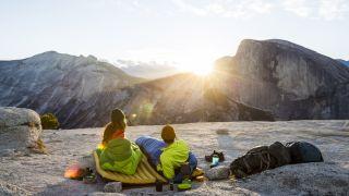 sleeping pad vs air mattress: sunset in Yosemite