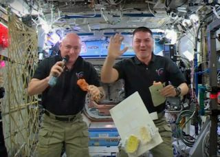 NASA astronauts Scott Kelly and Kjell Lindgren pose holding space-ified Thanksgiving staples aloft.