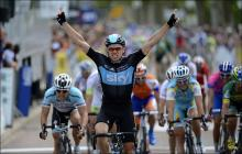 Edvald Boasson Hagen (Sky) wins the sprint on stage 3 of the Dauphine