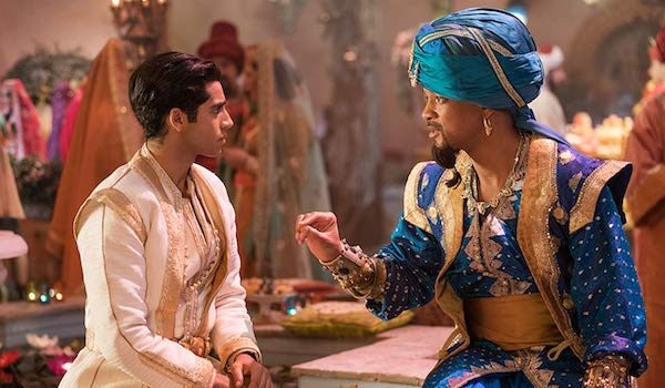 Mena Massoud as Aladdin and Will Smith as Genie in 2019 live-action remake