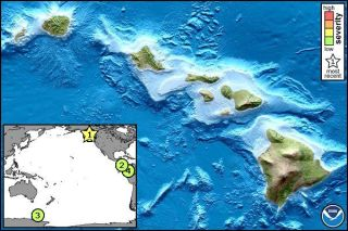 Small tsunami waves hit off the coast of Hawaii Sunday morning, local time, with the tsunami advisory (star on the map) being canceled later.