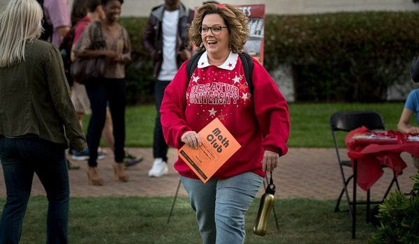 Life of the Party Melissa McCarthy Deanna shows school spirit on the quad