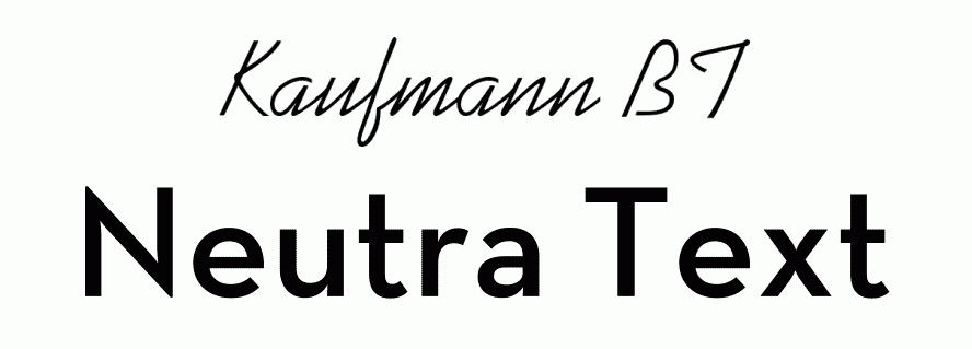 Font pairings: Kaufmann and NeutraDemi