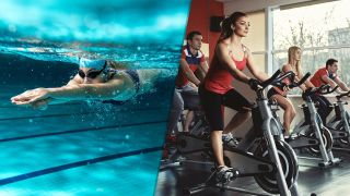 The left of the image shows a woman swimming underwater; the right shows four people riding exercise bikes in a gym