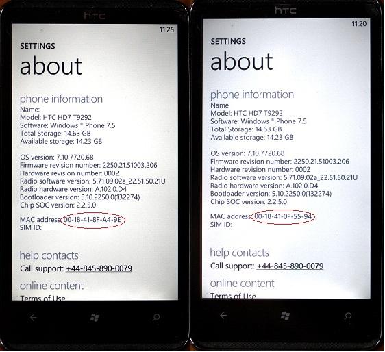 windows phone mac address change